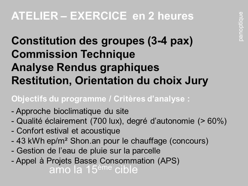 panoptique amo la 15 ème cible ATELIER – EXERCICE en 2 heures Constitution des groupes (3-4 pax) Commission Technique Analyse Rendus graphiques Restit