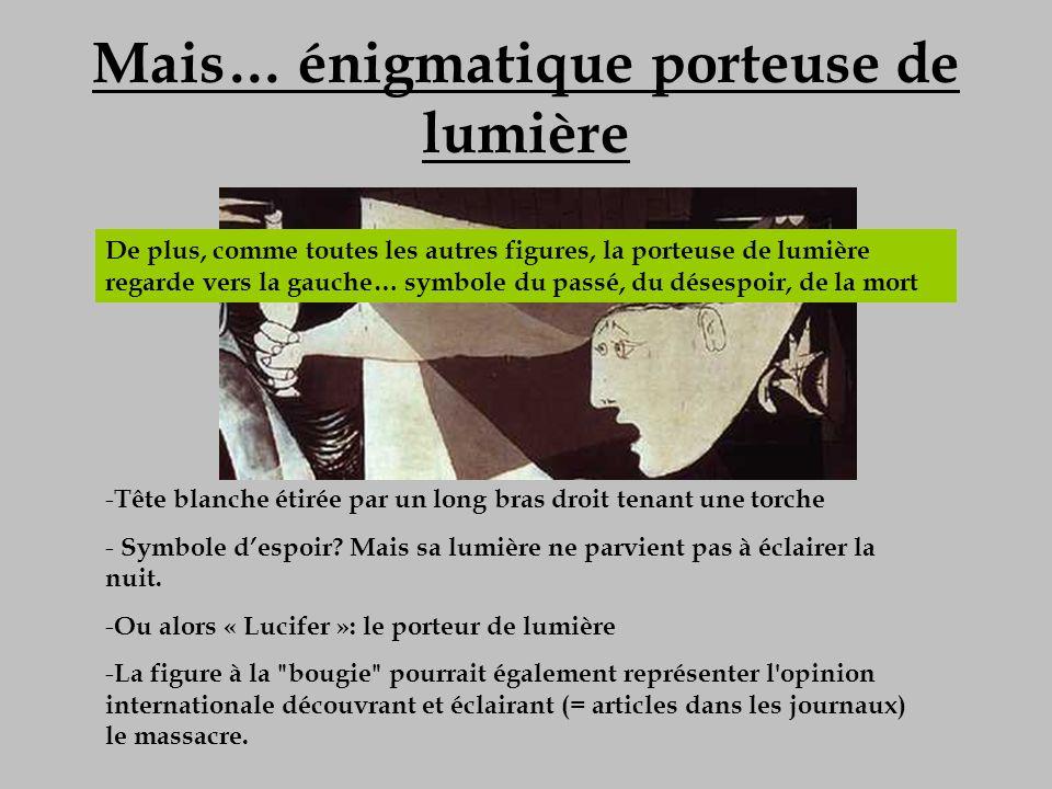Mais… énigmatique porteuse de lumière - Tête blanche étirée par un long bras droit tenant une torche - Symbole despoir? Mais sa lumière ne parvient pa