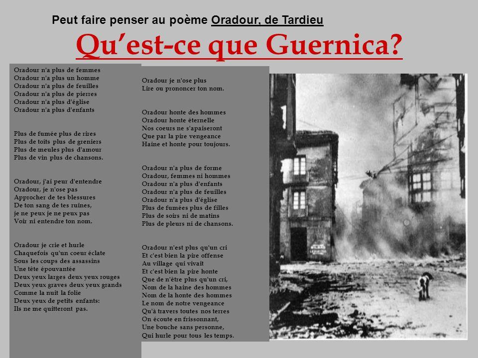 Quest-ce que Guernica? Guernica est une petite ville sans histoire de 7000 habitants, située sur la route de Bilbao, au pays Basque. Le 26 avril 1937,