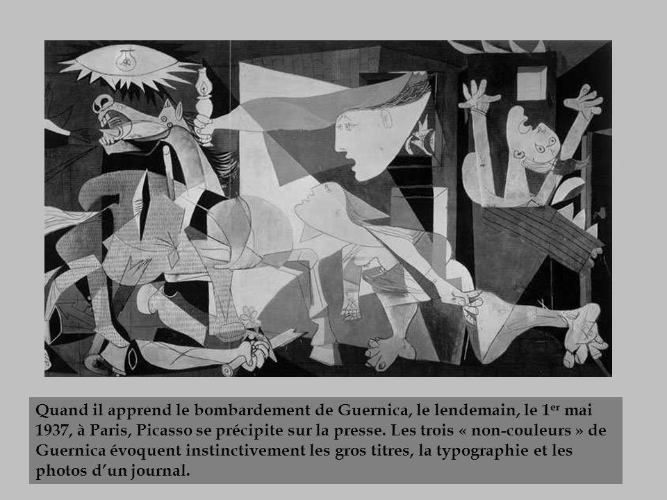 Quand il apprend le bombardement de Guernica, le lendemain, le 1 er mai 1937, à Paris, Picasso se précipite sur la presse. Les trois « non-couleurs »