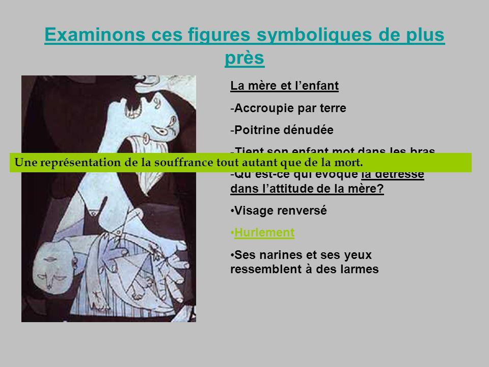 Examinons ces figures symboliques de plus près La mère et lenfant -Accroupie par terre -Poitrine dénudée -Tient son enfant mot dans les bras -Quest-ce