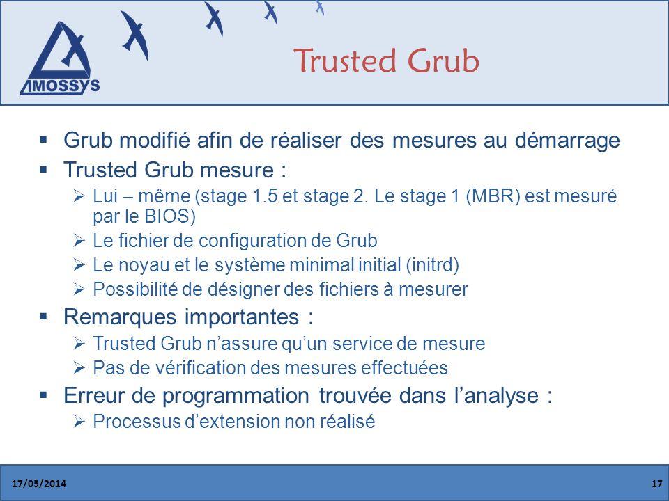 Trusted Grub Grub modifié afin de réaliser des mesures au démarrage Trusted Grub mesure : Lui – même (stage 1.5 et stage 2.