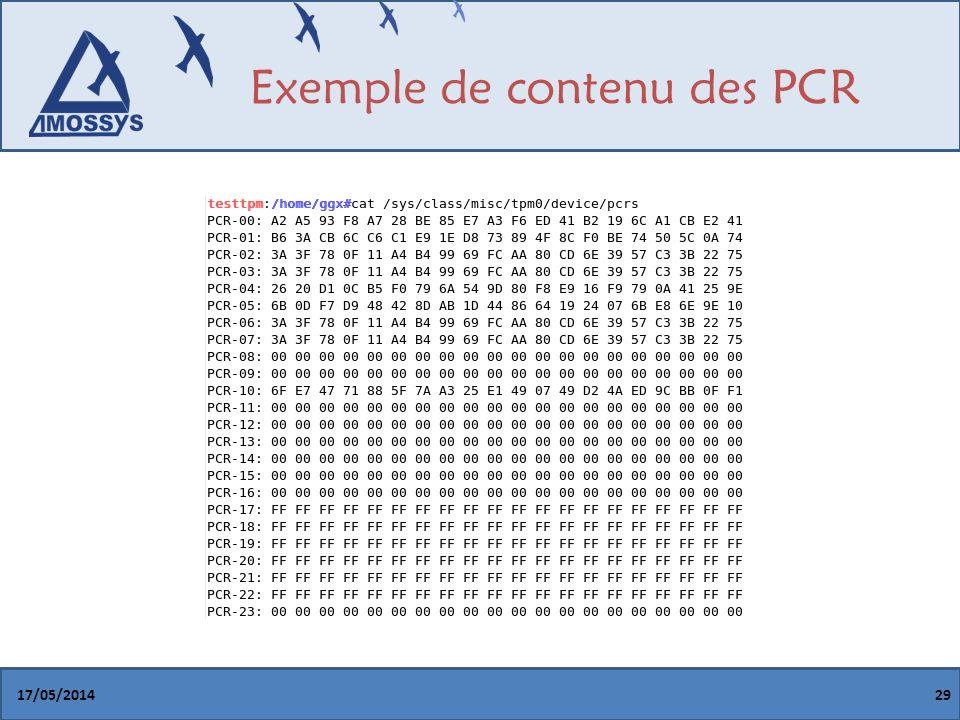 Exemple de contenu des PCR 17/05/201429