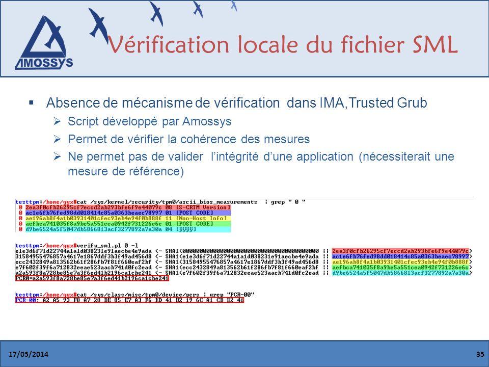 Vérification locale du fichier SML Absence de mécanisme de vérification dans IMA,Trusted Grub Script développé par Amossys Permet de vérifier la cohérence des mesures Ne permet pas de valider lintégrité dune application (nécessiterait une mesure de référence) 17/05/201435