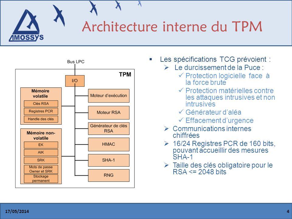 Architecture interne du TPM 17/05/20144 Les spécifications TCG prévoient : Le durcissement de la Puce : Protection logicielle face à la force brute Protection matérielles contre les attaques intrusives et non intrusives Générateur daléa Effacement durgence Communications internes chiffrées 16/24 Registres PCR de 160 bits, pouvant accueillir des mesures SHA-1 Taille des clés obligatoire pour le RSA <= 2048 bits