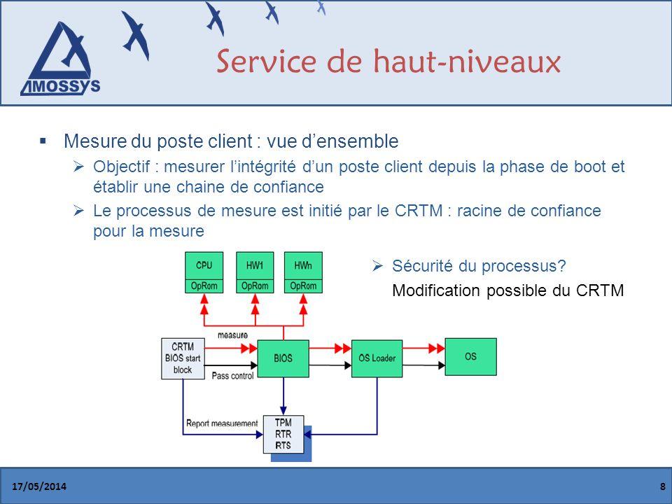 Service de haut-niveaux Mesure du poste client : vue densemble Objectif : mesurer lintégrité dun poste client depuis la phase de boot et établir une chaine de confiance Le processus de mesure est initié par le CRTM : racine de confiance pour la mesure 17/05/20148 Sécurité du processus.