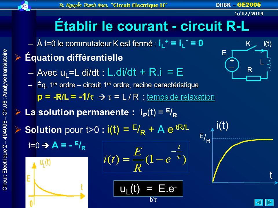 Ts. Nguyn Thanh Nam, Circuit Electrique II ĐHBK – GE2005 5/17/2014 Circuit Electrique 2 – 404008 – Ch.06 : Analyse transistoire Décharge dun condensat