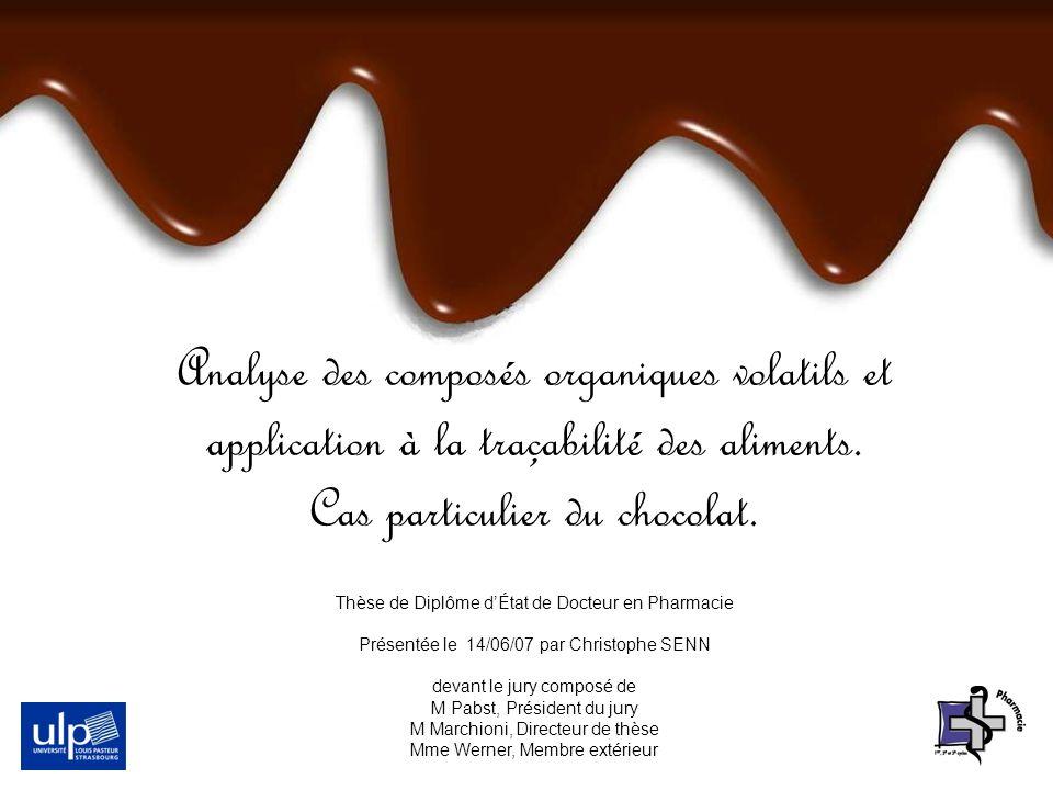 Analyse des composés organiques volatils et application à la traçabilité des aliments. Cas particulier du chocolat. Thèse de Diplôme dÉtat de Docteur