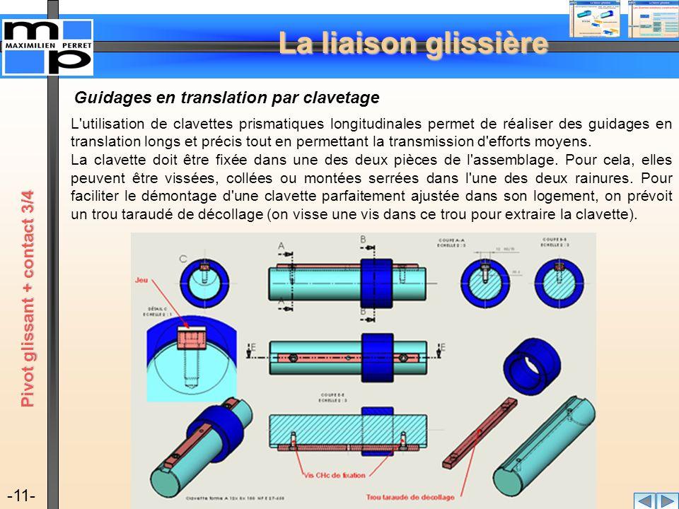 La liaison glissière -11- Guidages en translation par clavetage L'utilisation de clavettes prismatiques longitudinales permet de réaliser des guidages