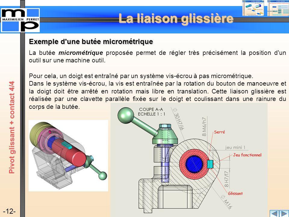 La liaison glissière -12- Exemple d'une butée micrométrique La butée micrométrique proposée permet de régler très précisément la position d'un outil s