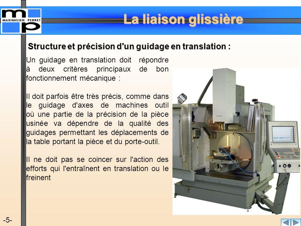La liaison glissière -5- Structure et précision d'un guidage en translation : Un guidage en translation doit répondre à deux critères principaux de bo