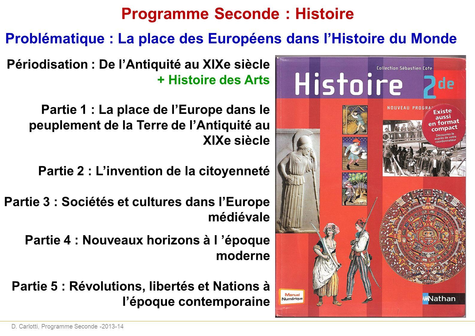 D. Carlotti, Programme Seconde -2013-14 Programme Seconde : Histoire Problématique : La place des Européens dans lHistoire du Monde Périodisation : De