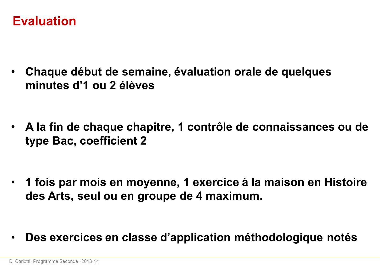 D. Carlotti, Programme Seconde -2013-14 Evaluation Chaque début de semaine, évaluation orale de quelques minutes d1 ou 2 élèves A la fin de chaque cha
