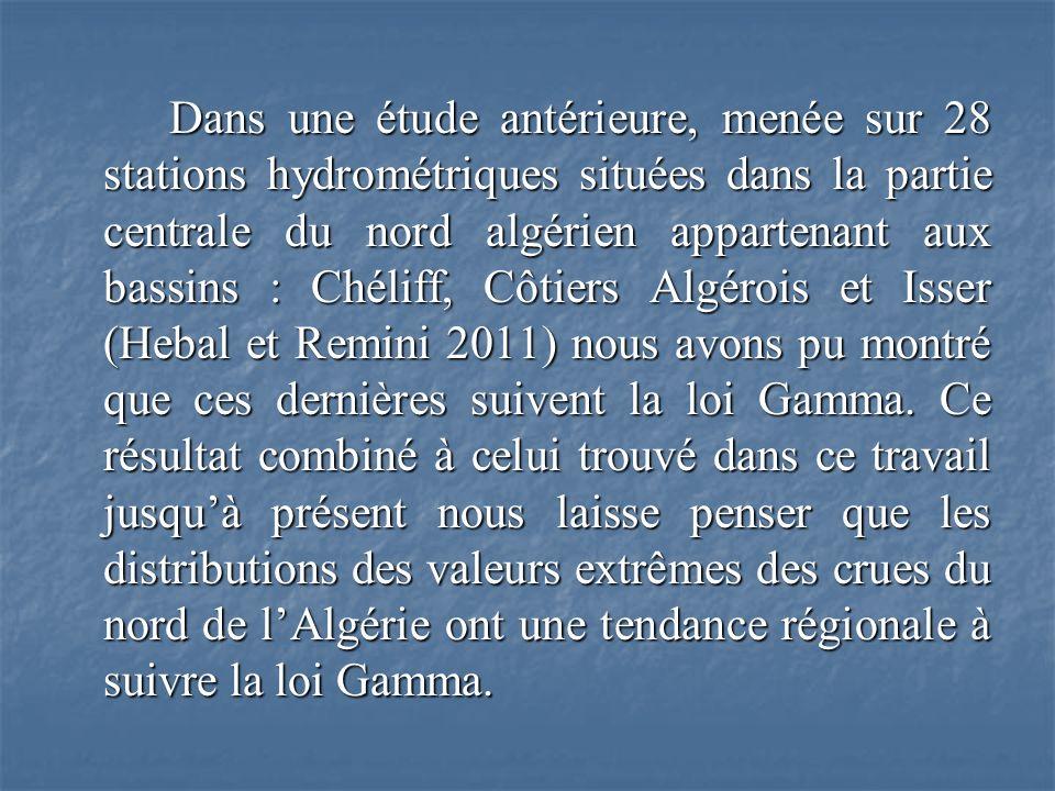 Dans une étude antérieure, menée sur 28 stations hydrométriques situées dans la partie centrale du nord algérien appartenant aux bassins : Chéliff, Côtiers Algérois et Isser (Hebal et Remini 2011) nous avons pu montré que ces dernières suivent la loi Gamma.