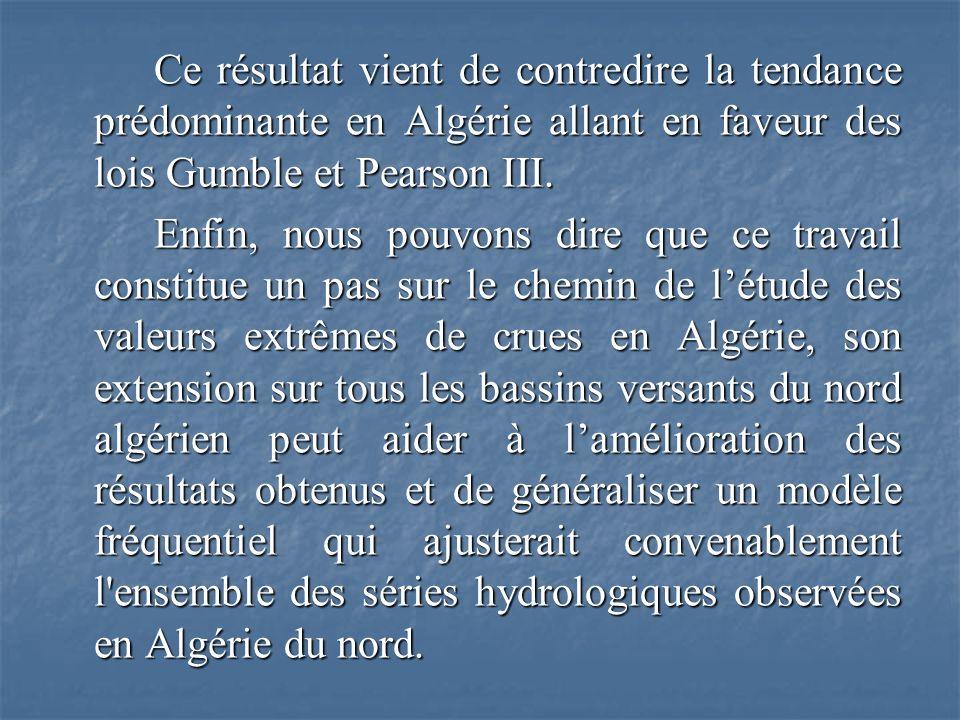 Ce résultat vient de contredire la tendance prédominante en Algérie allant en faveur des lois Gumble et Pearson III. Enfin, nous pouvons dire que ce t