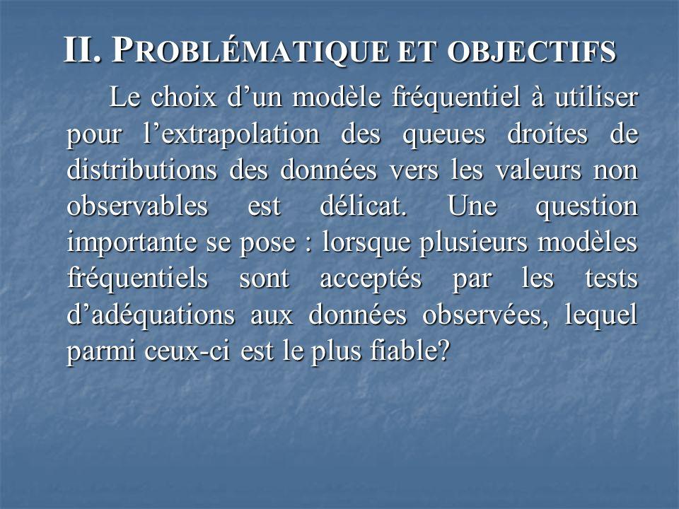II. P ROBLÉMATIQUE ET OBJECTIFS Le choix dun modèle fréquentiel à utiliser pour lextrapolation des queues droites de distributions des données vers le