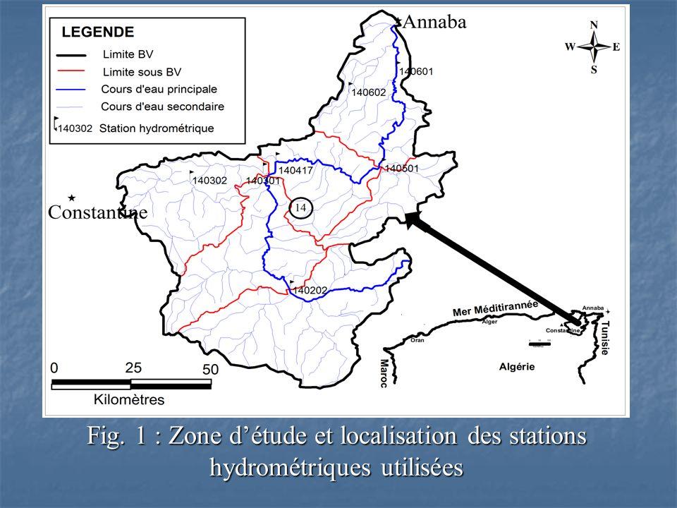 Fig. 1 : Zone détude et localisation des stations hydrométriques utilisées