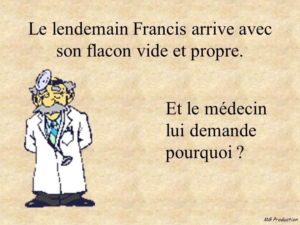 MG Production Le médecin lui donne un petit flacon et lui dit de revenir le lendemain pour lanalyse.