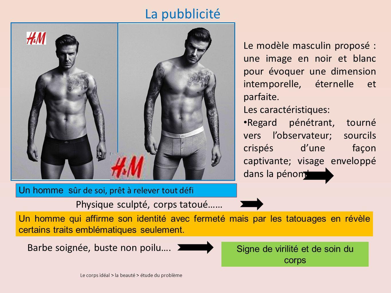 La pubblicité Le modèle masculin proposé : une image en noir et blanc pour évoquer une dimension intemporelle, éternelle et parfaite.