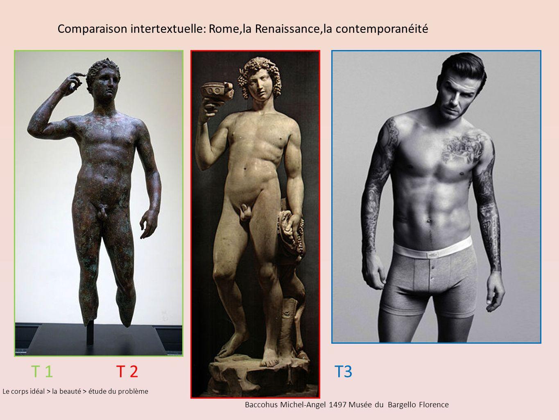 Baccohus Michel-Angel 1497 Musée du Bargello Florence Comparaison intertextuelle: Rome,la Renaissance,la contemporanéité Le corps idéal > la beauté > étude du problème T 1 T 2 T3