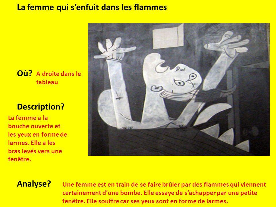 La femme qui senfuit dans les flammes Où? Description? Analyse? A droite dans le tableau La femme a la bouche ouverte et les yeux en forme de larmes.