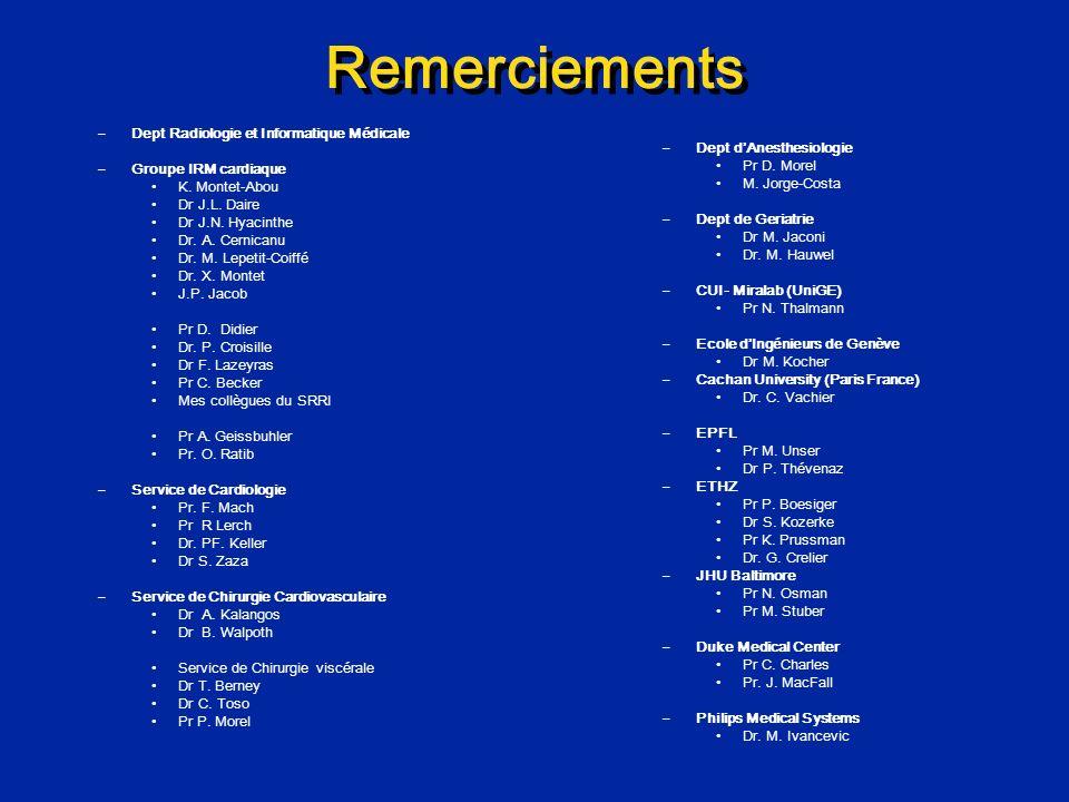 Remerciements –Dept Radiologie et Informatique Médicale –Groupe IRM cardiaque K. Montet-Abou Dr J.L. Daire Dr J.N. Hyacinthe Dr. A. Cernicanu Dr. M. L