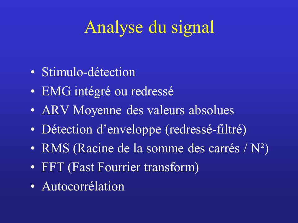 Analyse du signal Stimulo-détection EMG intégré ou redressé ARV Moyenne des valeurs absolues Détection denveloppe (redressé-filtré) RMS (Racine de la somme des carrés / N²) FFT (Fast Fourrier transform) Autocorrélation