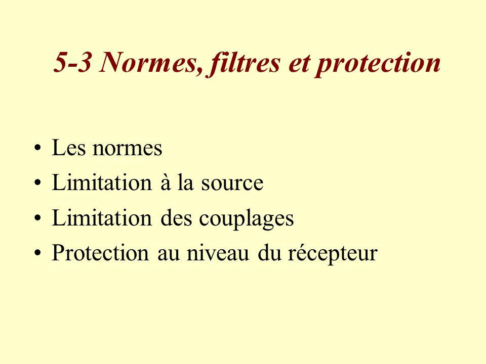 5-3 Normes, filtres et protection Les normes Limitation à la source Limitation des couplages Protection au niveau du récepteur