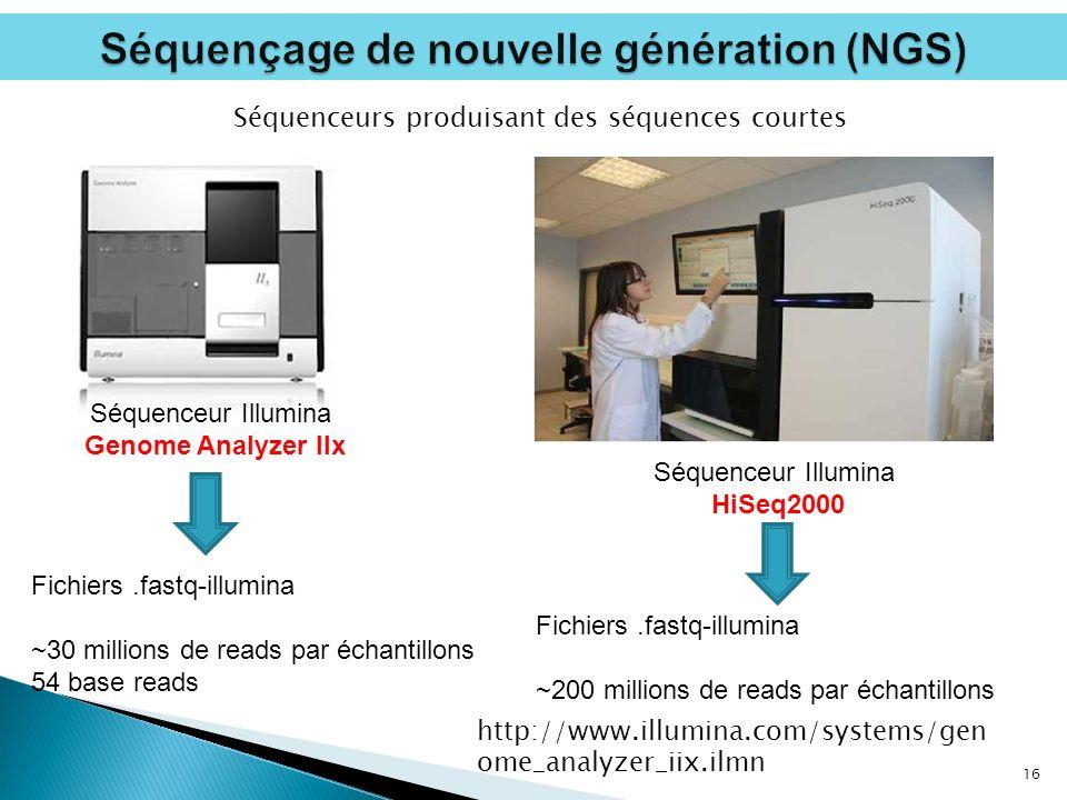 16 Séquenceur Illumina Genome Analyzer IIx Fichiers.fastq-illumina ~30 millions de reads par échantillons 54 base reads Séquenceur Illumina HiSeq2000