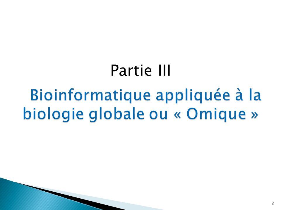 1) Intro/définitions (génome, transcriptome, etc …) 2) Génomique 3) Transcriptomique (4) Protéomique)