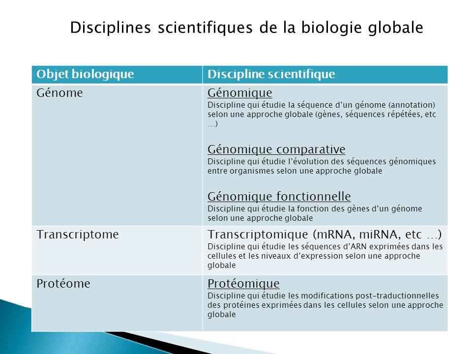 Objet biologiqueDiscipline scientifique GénomeGénomique Discipline qui étudie la séquence dun génome (annotation) selon une approche globale (gènes, s