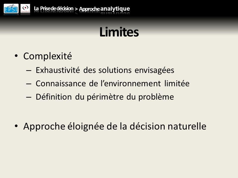 Limites Complexité – Exhaustivité des solutions envisagées – Connaissance de lenvironnement limitée – Définition du périmètre du problème Approche éloignée de la décision naturelle
