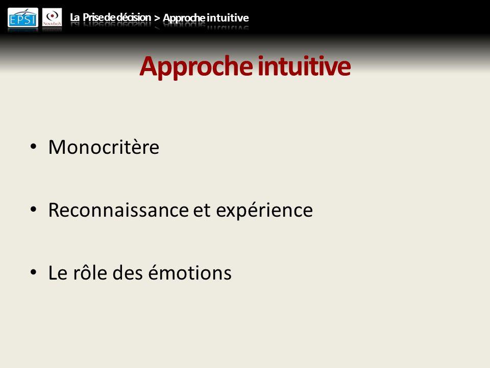 Approche intuitive Monocritère Reconnaissance et expérience Le rôle des émotions