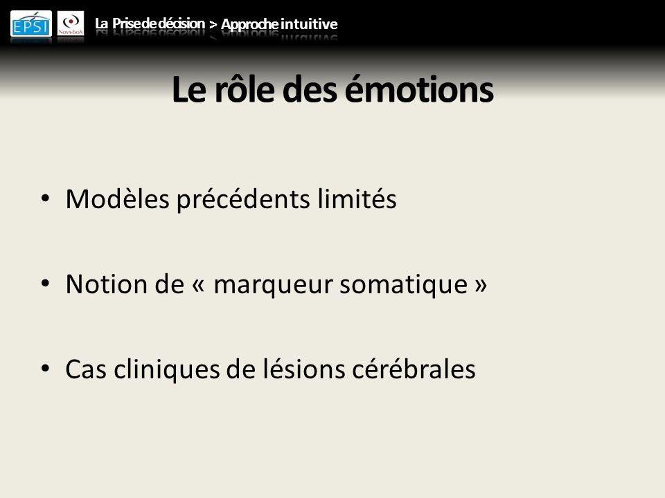 Le rôle des émotions Modèles précédents limités Notion de « marqueur somatique » Cas cliniques de lésions cérébrales
