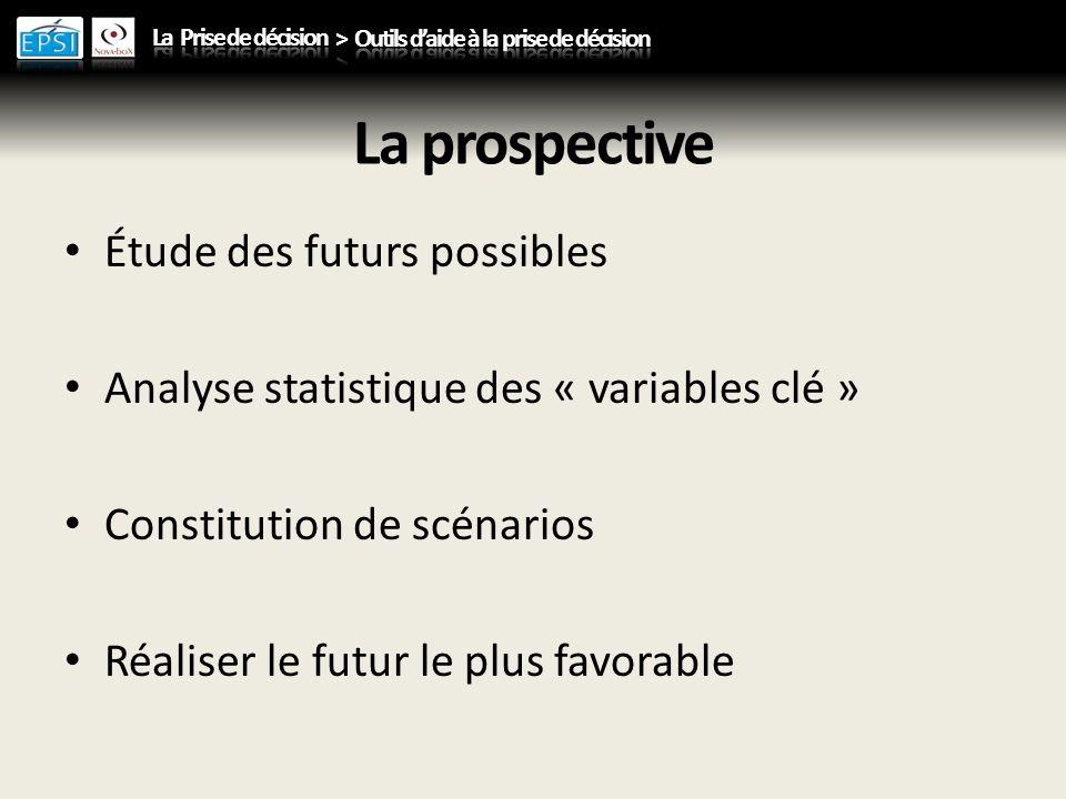La prospective Étude des futurs possibles Analyse statistique des « variables clé » Constitution de scénarios Réaliser le futur le plus favorable