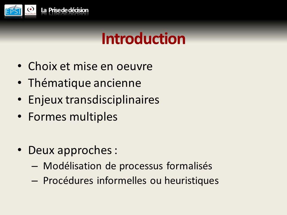 Introduction Choix et mise en oeuvre Thématique ancienne Enjeux transdisciplinaires Formes multiples Deux approches : – Modélisation de processus formalisés – Procédures informelles ou heuristiques