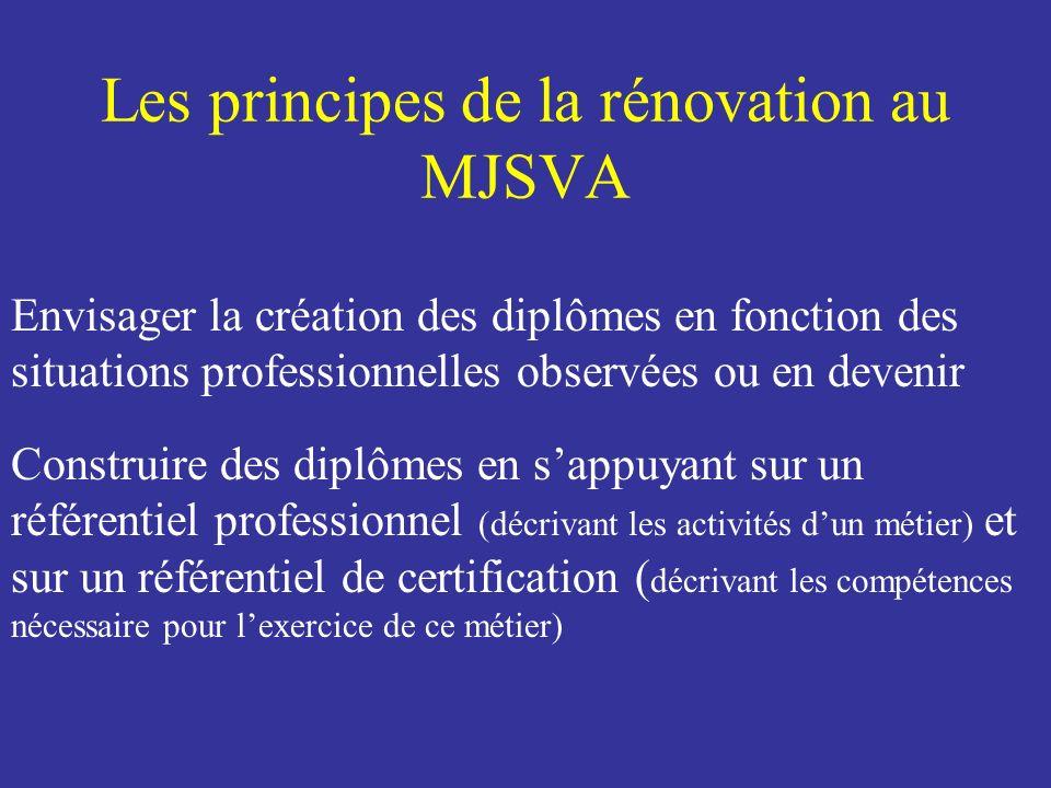 Les principes de la rénovation à la FFHB Envisager la création des diplômes en fonction des situations professionnelles observées Construire des diplômes en sappuyant sur un référentiel professionnel (décrivant les activités dun métier) et sur un référentiel de certification ( décrivant les compétences nécessaire pour lexercice de ce métier) Valider les compétences acquises à la FFHB, dans la filière du MJSVA