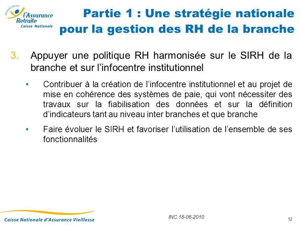 INC 18-06-2010 12 3.Appuyer une politique RH harmonisée sur le SIRH de la branche et sur linfocentre institutionnel Contribuer à la création de linfoc