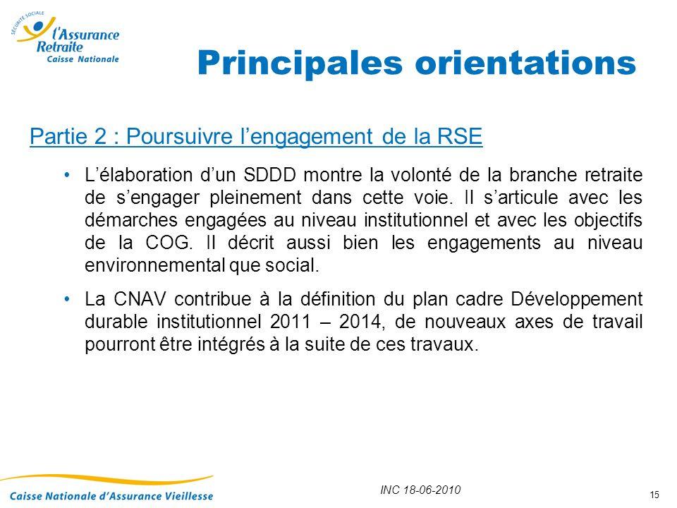 INC 18-06-2010 15 Partie 2 : Poursuivre lengagement de la RSE Lélaboration dun SDDD montre la volonté de la branche retraite de sengager pleinement da