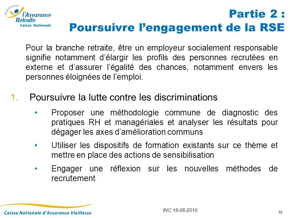 INC 18-06-2010 16 1.Poursuivre la lutte contre les discriminations Proposer une méthodologie commune de diagnostic des pratiques RH et managériales et