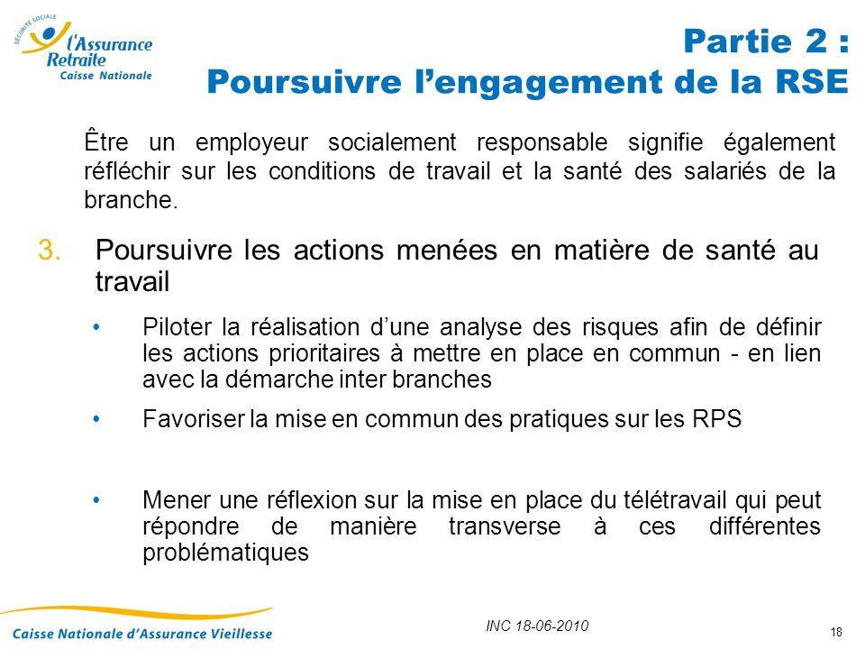 INC 18-06-2010 18 3.Poursuivre les actions menées en matière de santé au travail Piloter la réalisation dune analyse des risques afin de définir les a
