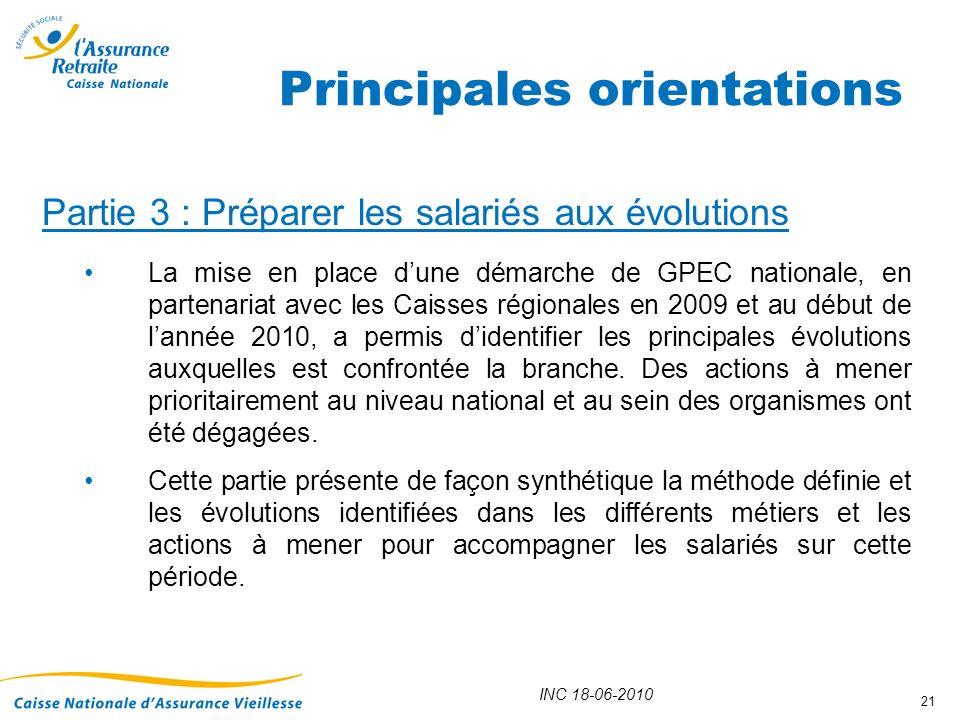 INC 18-06-2010 21 Partie 3 : Préparer les salariés aux évolutions La mise en place dune démarche de GPEC nationale, en partenariat avec les Caisses ré