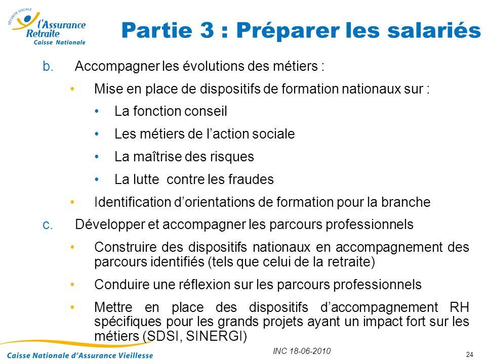 INC 18-06-2010 24 b.Accompagner les évolutions des métiers : Mise en place de dispositifs de formation nationaux sur : La fonction conseil Les métiers