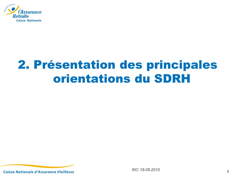 INC 18-06-2010 9 Partie 1 : Une stratégie nationale pour la gestion des RH de la branche Cette première partie sattache à exposer la stratégie nationale de gestion des ressources humaines de la branche.