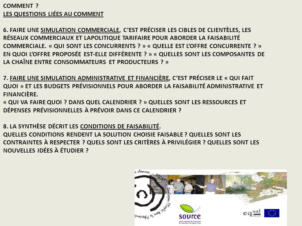 COMMENT . LES QUESTIONS LIÉES AU COMMENT 6.