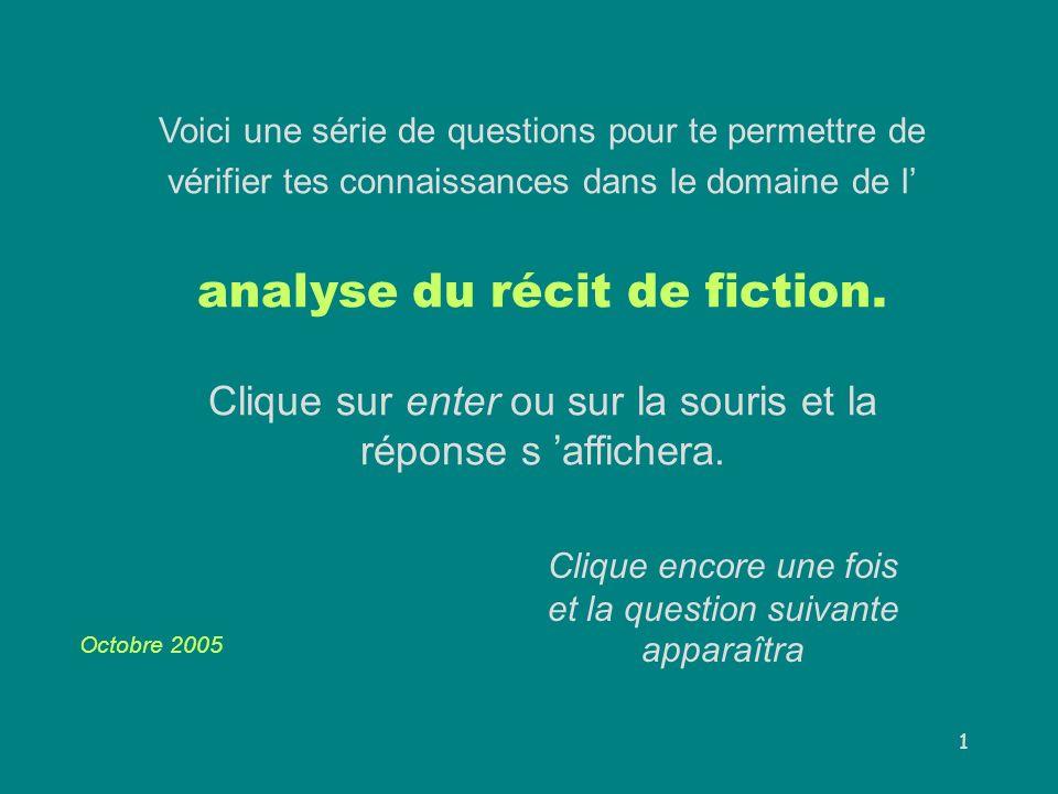 2 Récit de fiction L histoire suffit à constituer un récit.