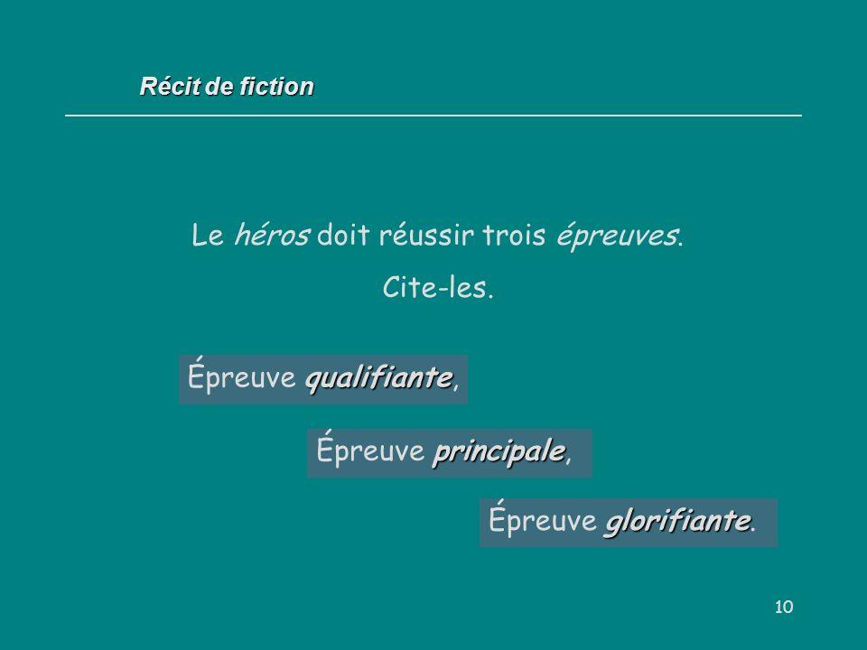 10 qualifiante Épreuve qualifiante, Récit de fiction Le héros doit réussir trois épreuves. Cite-les. principale Épreuve principale, glorifiante Épreuv