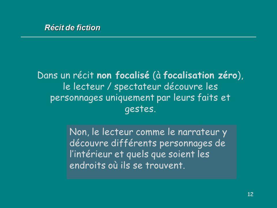 12 Dans un récit non focalisé (à focalisation zéro), le lecteur / spectateur découvre les personnages uniquement par leurs faits et gestes. Oui / Non
