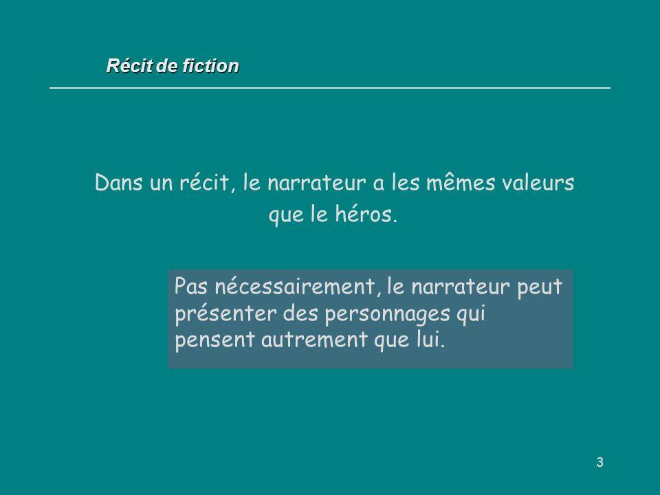 3 Récit de fiction Dans un récit, le narrateur a les mêmes valeurs que le héros. Oui / Non ? Pas nécessairement, le narrateur peut présenter des perso