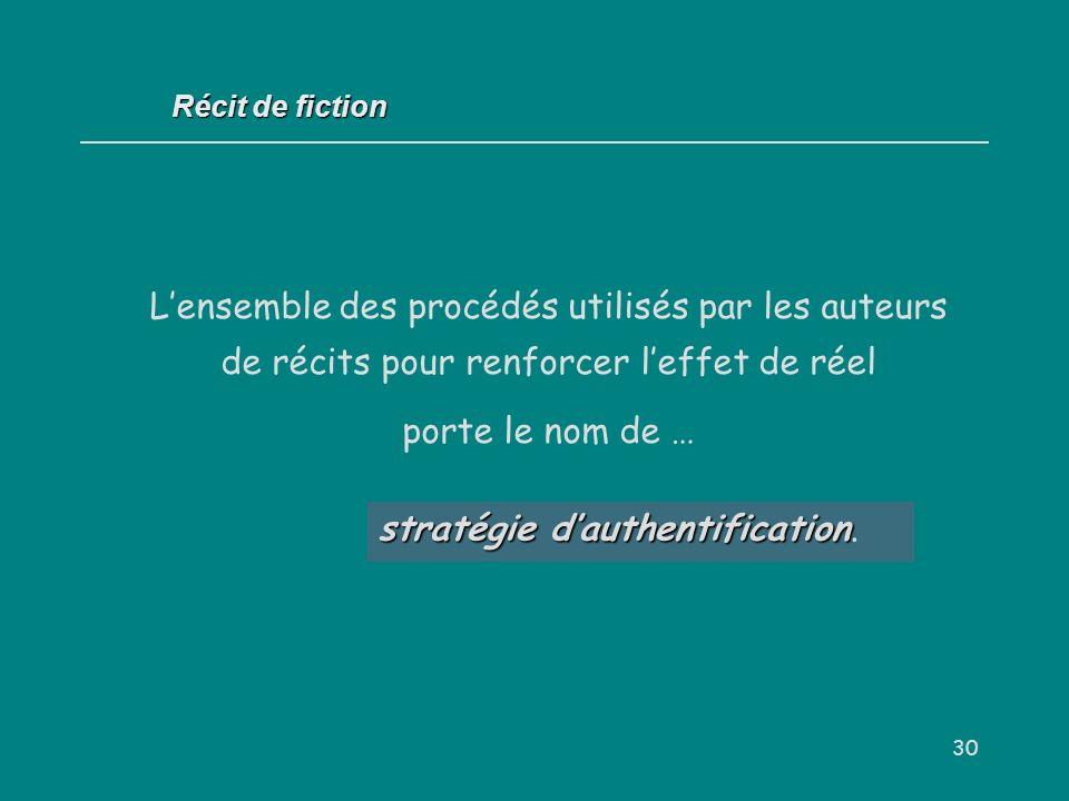 30 stratégie dauthentification stratégie dauthentification. Récit de fiction Lensemble des procédés utilisés par les auteurs de récits pour renforcer